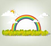 Regenboog over bos Stock Fotografie