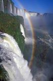 Regenboog over Dalingen Iguacu Stock Afbeelding