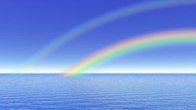 Regenboog over de 3D oceaan - geef terug stock illustratie