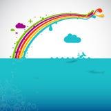 Regenboog over de oceaan   Royalty-vrije Stock Afbeeldingen