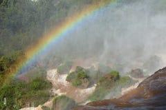 Regenboog over de watervallen Iguazú Stock Afbeelding