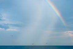 Regenboog over overzees Stock Foto's