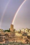 Regenboog over Rome Stock Afbeeldingen