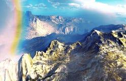 Regenboog over vulkanisch landschap Stock Foto