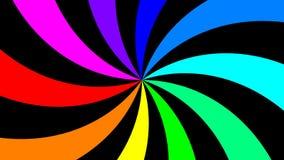 Regenboog spectrale werveling die snel lijn met de wijzers van de klok mee roteren, naadloze stock footage