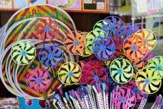 Regenboog Toy Wind Turbines Royalty-vrije Stock Afbeeldingen
