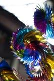 Regenboog Toy Wind Turbines Stock Fotografie