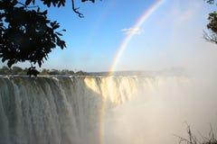 Regenboog Victoria Falls Stock Afbeeldingen