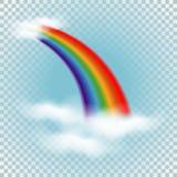 Regenboog in wolken Vector illustratie Stock Foto