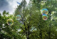 Regenboogbellen van zeep worden gemaakt die Royalty-vrije Stock Foto's
