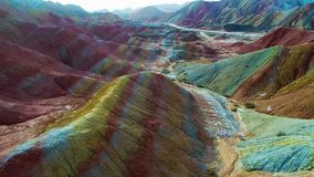 Regenboogbergen in Zhangye Nationale Geopark stock footage
