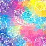 Regenboogdriehoeken met witte krabbelbloemen Stock Afbeelding