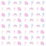 Regenboogeenhoorn en het naadloze patroon van de bliksembout stock illustratie