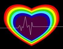 Regenbooghart cardio, valentijnskaartendag Royalty-vrije Stock Foto's