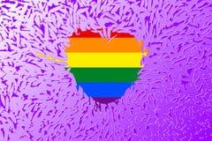 Regenbooghart en de vrolijke de trotsvlag van LGBT Royalty-vrije Stock Afbeeldingen