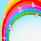 Regenbooghemel met vlinder Royalty-vrije Stock Fotografie