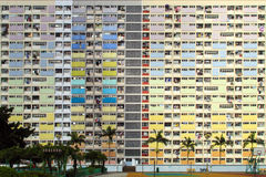 Regenbooglandgoed in Choi Hung, Hong Kong Stock Foto