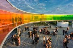 Regenboogpanorama in Aarhus, Denemarken Stock Foto