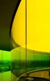 Regenboogpanorama in geel, Aarhus, Denemarken Stock Foto's