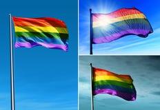 Regenboogvlag die op de wind golven Royalty-vrije Stock Afbeeldingen