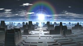 Regenboogzonsopgang in de Vreemde Stad stock video