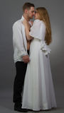 Regency. A couple posing in regency outfits Stock Images