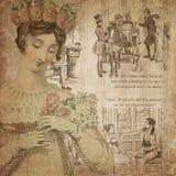 Regency Era - Jane Austen Inspired - Digital Paper Background - Roses - Pride & Prejudice. This digital paper background pairs a lovely Regency-era illustration vector illustration