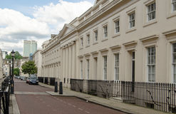 Regency and modern London, Marylebone. LONDON, UK - JUNE 7, 2014: View along a street of Regency buildings near Regent's Park in Marylebone with the landmark Royalty Free Stock Images