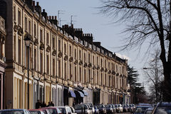 Regency terrace. Row of regency buildings, in Montpellier area of Cheltenham royalty free stock image