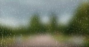 Regendalingen die neer op glas blauwe achtergrond vallen, waterdruppeltjes op vensterglas met de beweging van de aardboom vector illustratie