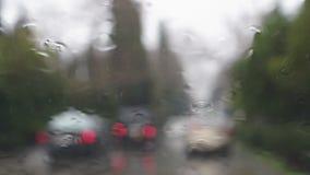 Regendalingen op het windscherm stock footage