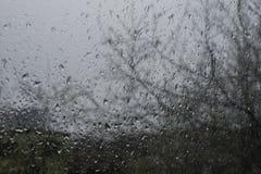 Regendalingen op venster, regenachtige dag Stock Foto