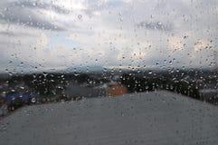 Regendruppels die aan het glas plakken stock afbeeldingen