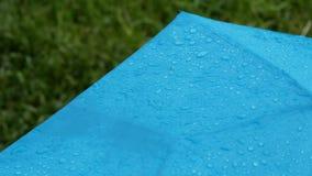 Regendruppels die op mooie blauwe paraplu tegen een achtergrond van groen gras vallen Regen en paraplu stock footage
