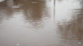 Regendruppels in een vulklei van bewolking van de de herfst de blauwe aard van de waterplons somber stock video