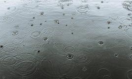 Regendruppels in het kanaal stock afbeelding