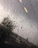 Regendruppels op de trein Royalty-vrije Stock Fotografie