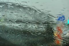 Regendruppels op Glas stock foto