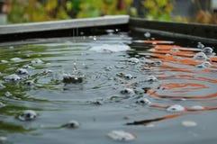 Regendruppels op het water Royalty-vrije Stock Foto