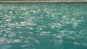 Regendruppelsval in het water Mooie poolwaterspiegel onder de regen Langzame Motie stock videobeelden