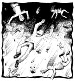 Regenende mensen Vector Illustratie