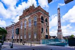 Regeneración del centro de ciudad de Eldridge Pope Brewery Site Dorchester Dorset foto de archivo