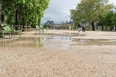 Regenpfützen im Park lizenzfreie stockfotos
