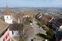 Regensberg city, panoramic aerial view. On the city center with fontain and old houses with tiled roofs, canton Zurich, Switzerland Stock Images