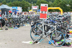 Regensburg, Bavaria, Germany, August 06, 2017, 28th Regensburg Triathlon 2017, Racing bikes in the presentation area Royalty Free Stock Images