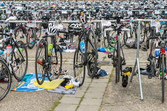 Regensburg, Bavaria, Germany, August 06, 2017, 28th Regensburg Triathlon 2017, Racing bikes in the presentation area Stock Photography