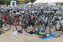 Regensburg, Bavaria, Germany, August 06, 2017, 28th Regensburg Triathlon 2017, Racing bikes in the presentation area Stock Images
