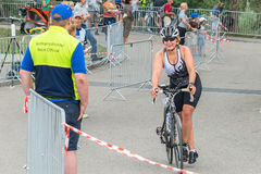 Regensburg, Bavaria, Germany, August 06, 2017, 28th Regensburg Triathlon 2017, Downswing of a bike racer in the transition area Stock Photo