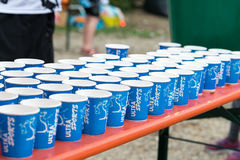 Regensburg, Bavaria, Germany, August 06, 2017, 28th Regensburg Triathlon 2017, Plastic cups with water on a drink station Stock Photo