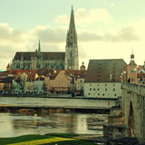 Regensburg Bavaria, Germany and Danube river Stock Images